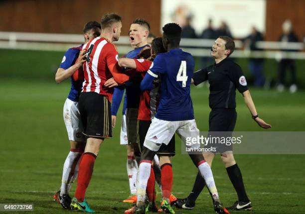 Jan Kirchhoff of Sunderland gets into an argument as he makes his comeback from injury during the Premier League 2 match between Sunderland U23 and...