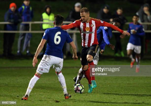 Jan Kirchhoff of Sunderland makes his comeback from injury during the Premier League 2 match between Sunderland U23 and Manchester United U23 at the...