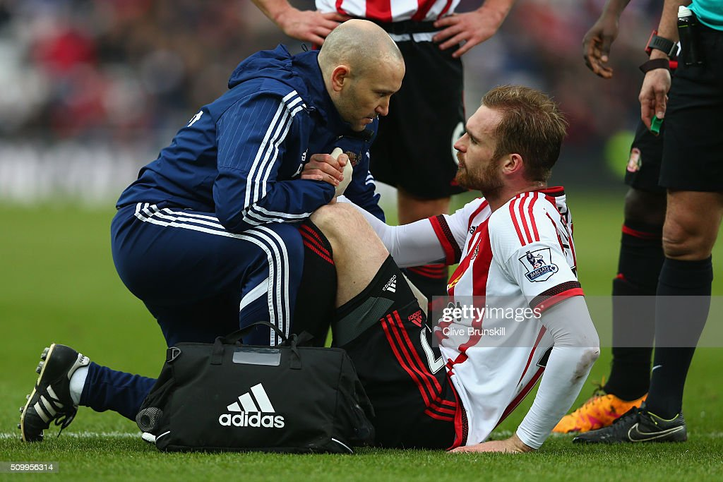 Jan Kirchhoff of Sunderland receives a medical treatment before replaced during the Barclays Premier League match between Sunderland and Manchester United at the Stadium of Light on February 13, 2016 in Sunderland, England.