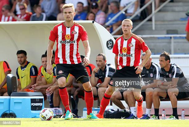 Jan Kirchhoff of Sunderland with team mate Tom Robson during the preseason friendly match between Sunderland AFC and Montpellier HSC at Stade Jacques...