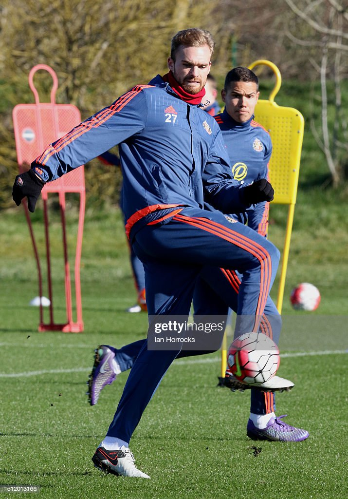 Jan Kirchoff during a Sunderland AFC training session at the Academy of Light on February 24, 2016 in Sunderland, England.