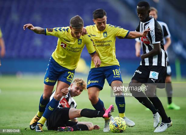Jan Kliment and Besar Halimi of Brondby IF in action during the UEFA Europa League Qualification match between Brondby IF and VPS Vaasa at Brondby...