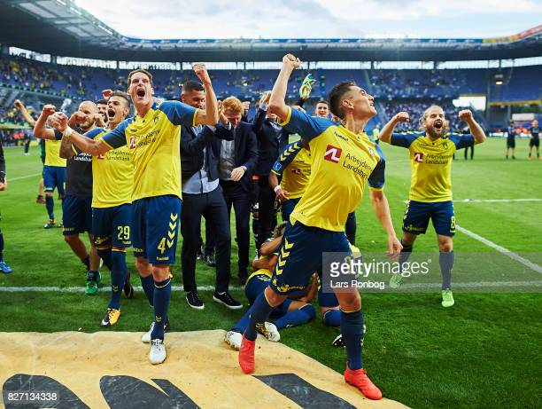 Jan Kliment Benedikt Rocker Svenn Crone and Kasper Fisker of Brondby IF celebrate after the Danish Alka Superliga match between Brondby IF and FC...