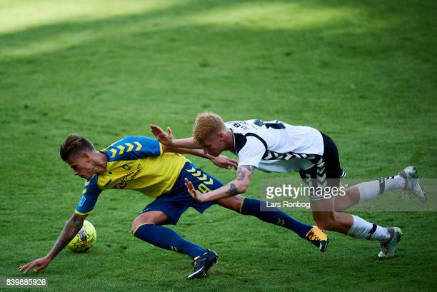 Jan Kliment of Brondby IF and Bjarke Jacobsen of AC Horsens compete for the ball during the Danish Alka Superliga match between Brondby IF and AC...
