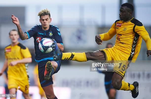 Jan Kliment of Brondby IF and Bubacarr Sanneh of AC Horsens compete for the ball during the Danish Alka Superliga match between AC Horsens and...