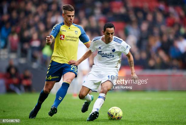 Jan Kliment of Brondby IF and Carlos Zeca of FC Copenhagen compete for the ball during the Danish Alka Superliga match between FC Copenhagen and...
