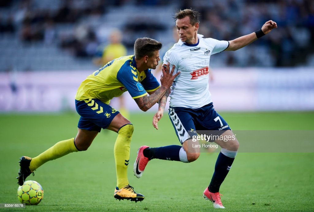 Jan Kliment of Brondby IF and Jakob Ankersen of AGF Aarhus compete for the ball during the Danish Alka Superliga match between AGF Aarhus and Brondby IF at Ceres Park on August 20, 2017 in Aarhus, Denmark.