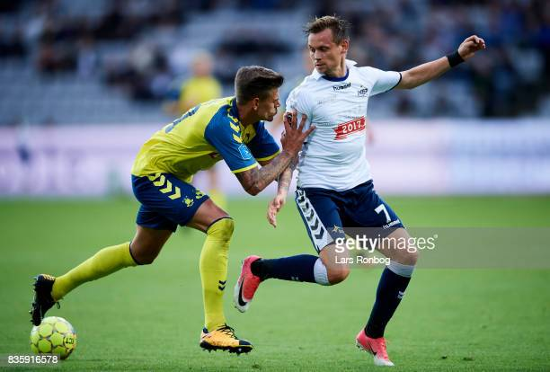 Jan Kliment of Brondby IF and Jakob Ankersen of AGF Aarhus compete for the ball during the Danish Alka Superliga match between AGF Aarhus and Brondby...