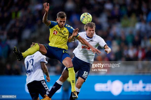 Jan Kliment of Brondby IF and Jesper Juelsgard of AGF Aarhus compete for the ball during the Danish Alka Superliga match between AGF Aarhus and...