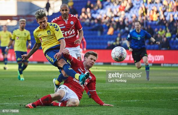 Jan Kliment of Brondby IF and Kees Luijckx of Sonderjyske compete for the ball during the Danish Alka Superliga match between Brondby IF and...