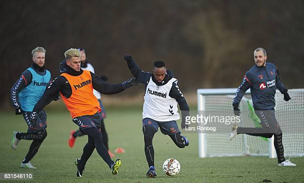 Jan Kliment of Brondby IF and Lebogang Phiri of Brondby IF compete for the ball during the Brondby IF training session at Brondby Stadion on January...