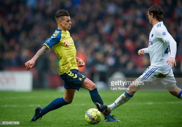 Jan Kliment of Brondby IF and Peter Ankersen of FC Copenhagen compete for the ball during the Danish Alka Superliga match between FC Copenhagen and...