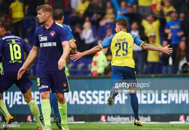 Jan Kliment of Brondby IF celebrates after scoring their second goal during the Danish Alka Superliga match between Brondby IF and FC Midtjylland at...
