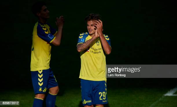 Jan Kliment of Brondby IF celebrates after the Danish Alka Superliga match between Brondby IF and AC Horsens at Brondby Stadion on August 27 2017 in...