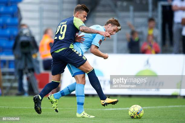 Jan Kliment of Brondby IF compete for the ball during the Danish Alka Superliga match between Randers FC and Brondby IF at BioNutria Park Randers on...