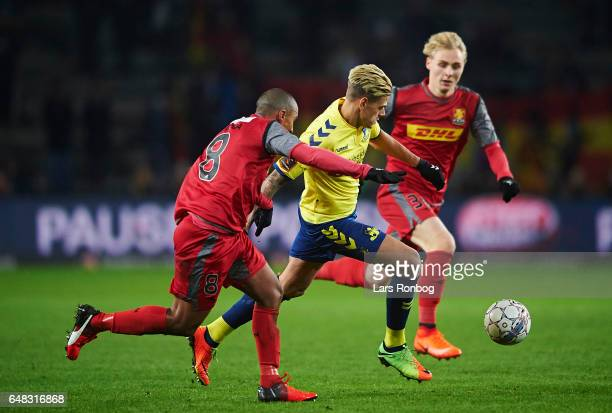 Jan Kliment of Brondby IF controls the ball during the Danish Alka Superliga match between Brondby IF and FC Nordsjalland at Brondby Stadion on March...