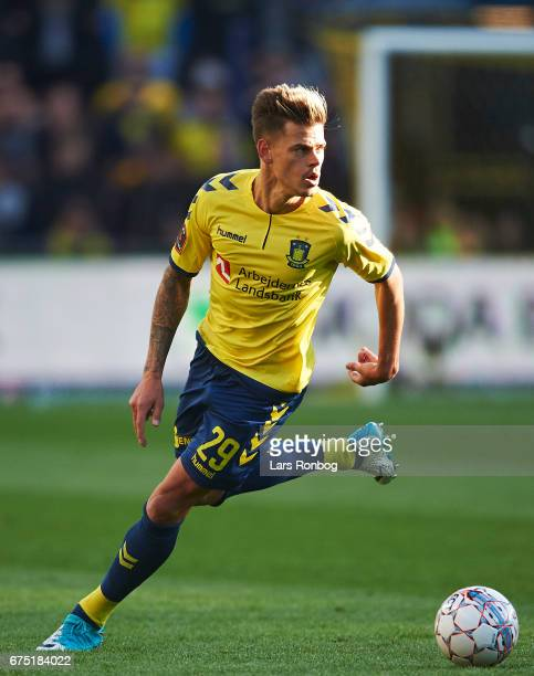 Jan Kliment of Brondby IF controls the ball during the Danish Alka Superliga match between Brondby IF and Sondejryske at Brondby Stadion on April 30...