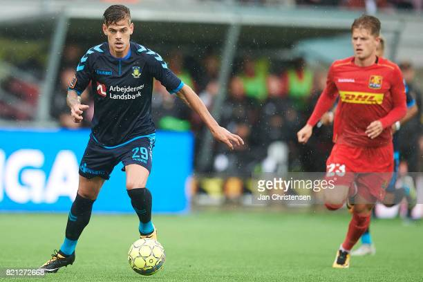 Jan Kliment of Brondby IF controls the ball during the Danish Alka Superliga match between FC Nordsjalland and Brondby IF at Right to Dream Park on...