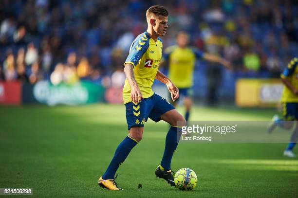 Jan Kliment of Brondby IF controls the ball during the Danish Alka Superliga match between Brondby IF and Lyngby BK at Brondby Stadion on July 30...