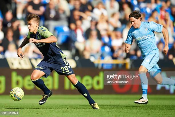 Jan Kliment of Brondby IF controls the ball during the Danish Alka Superliga match between Randers FC and Brondby IF at BioNutria Park Randers on...
