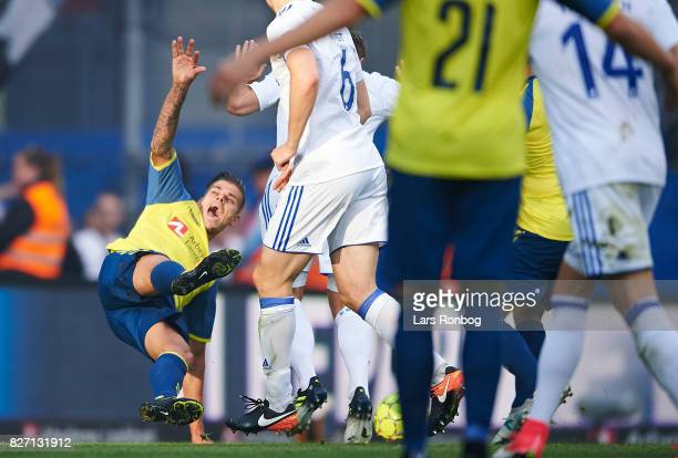 Jan Kliment of Brondby IF falling during the Danish Alka Superliga match between Brondby IF and FC Copenhagen at Brondby Stadion on August 6 2017 in...