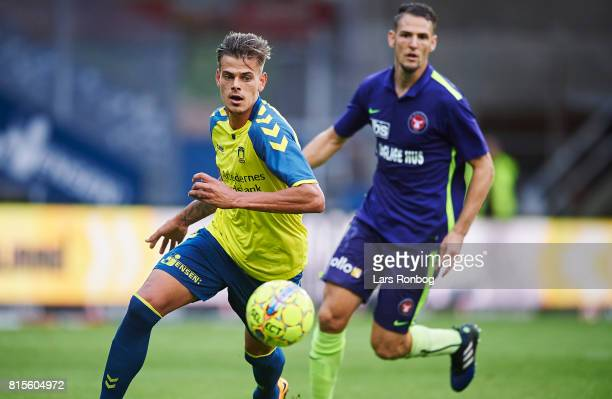 Jan Kliment of Brondby IF in action during the Danish Alka Superliga match between Brondby IF and FC Midtjylland at Brondby Stadion on July 16 2017...