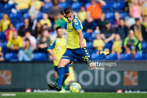 Jan Kliment of Brondby IF in action during the Danish Alka Superliga match between Brondby IF and AC Horsens at Brondby Stadion on August 27 2017 in...