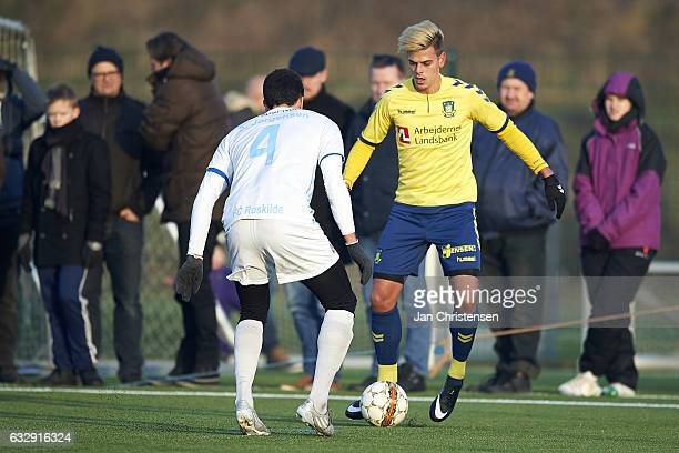 Jan Kliment of Brondby IF in action during the preseason friendly match between Brondby IF and Roskilde FC at Brondby Stadion on January 28 2017 in...