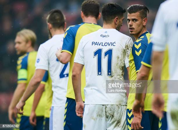 Jan Kliment of Brondby IF looks on during the Danish Alka Superliga match between FC Copenhagen and Brondby IF at Telia Parken Stadium on November 5...