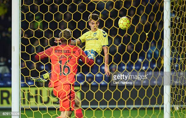 Jan Kliment of Brondby IF scores a goal on Goalkeeper Johan Dahlin of FC Midtjylland but cancelled for offside during the Danish Alka Superliga match...
