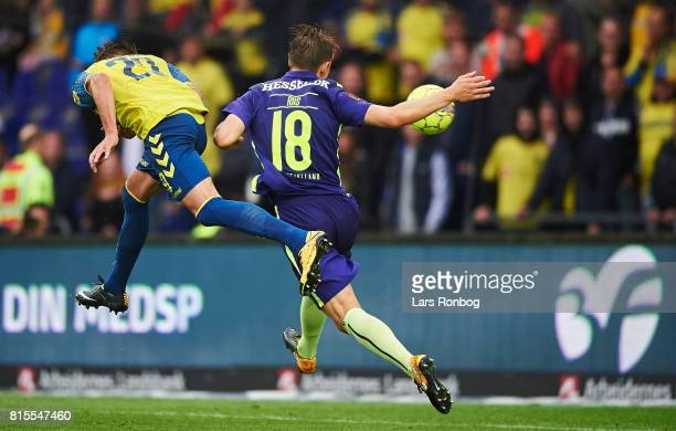 Jan Kliment of Brondby IF scores the 20 goal against Kristian Riis of FC Midtjylland during the Danish Alka Superliga match between Brondby IF and FC...