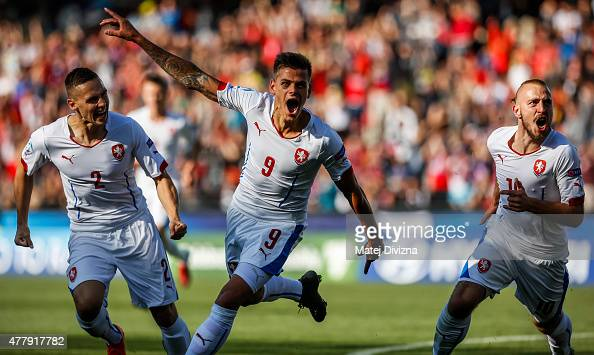 Jan Kliment of Czech Republic celebrates goal with his teammates during UEFA U21 European Championship Group A match between Serbia and Czech...