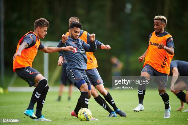 Jan Kliment Rezan Corlu and Hany Mukhtar of Brondby IF compete for the ball during the Brondby IF training session at Brondby Stadion on June 20 2017...