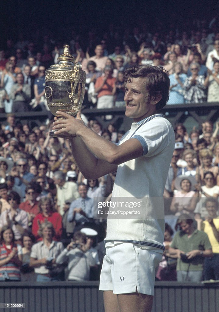 Jan Kodes of Czechoslovakia with the trophy after defeating Alex Metreveli in straight sets to win the Men's Singles Final at Wimbledon on 7th July 1973.