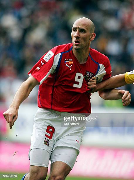 Jan Koller of the Czech Republic during the Group One World Cup Qualifying match between Czech Republic and FYR Macedonia at Stinadlech Stadium on...
