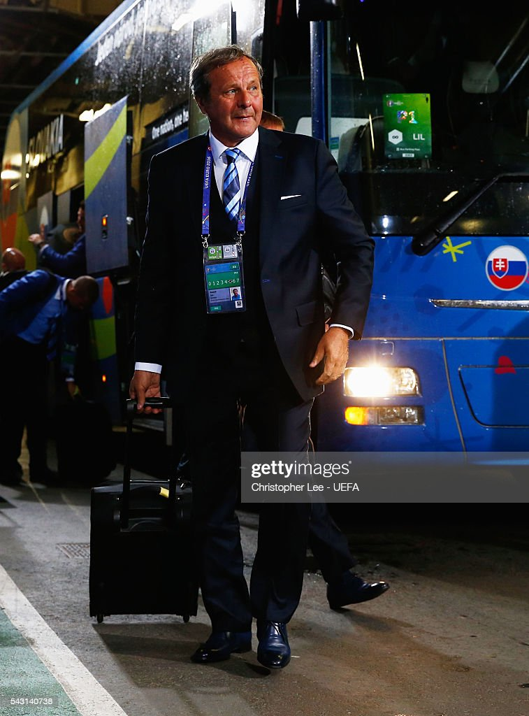 <a gi-track='captionPersonalityLinkClicked' href=/galleries/search?phrase=Jan+Kozak&family=editorial&specificpeople=844927 ng-click='$event.stopPropagation()'>Jan Kozak</a> head coach of Slovakia is seen on arrival at the stadium prior to the UEFA EURO 2016 round of 16 match between Germany and Slovakia at Stade Pierre-Mauroy on June 26, 2016 in Lille, France.
