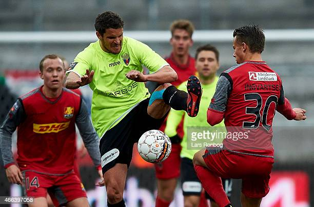 Jan Kristiansen of FC Vestsjalland and Marcus Ingvartsen of FC Nordsjalland compete for the ball during the Danish Alka Superliga match between FC...