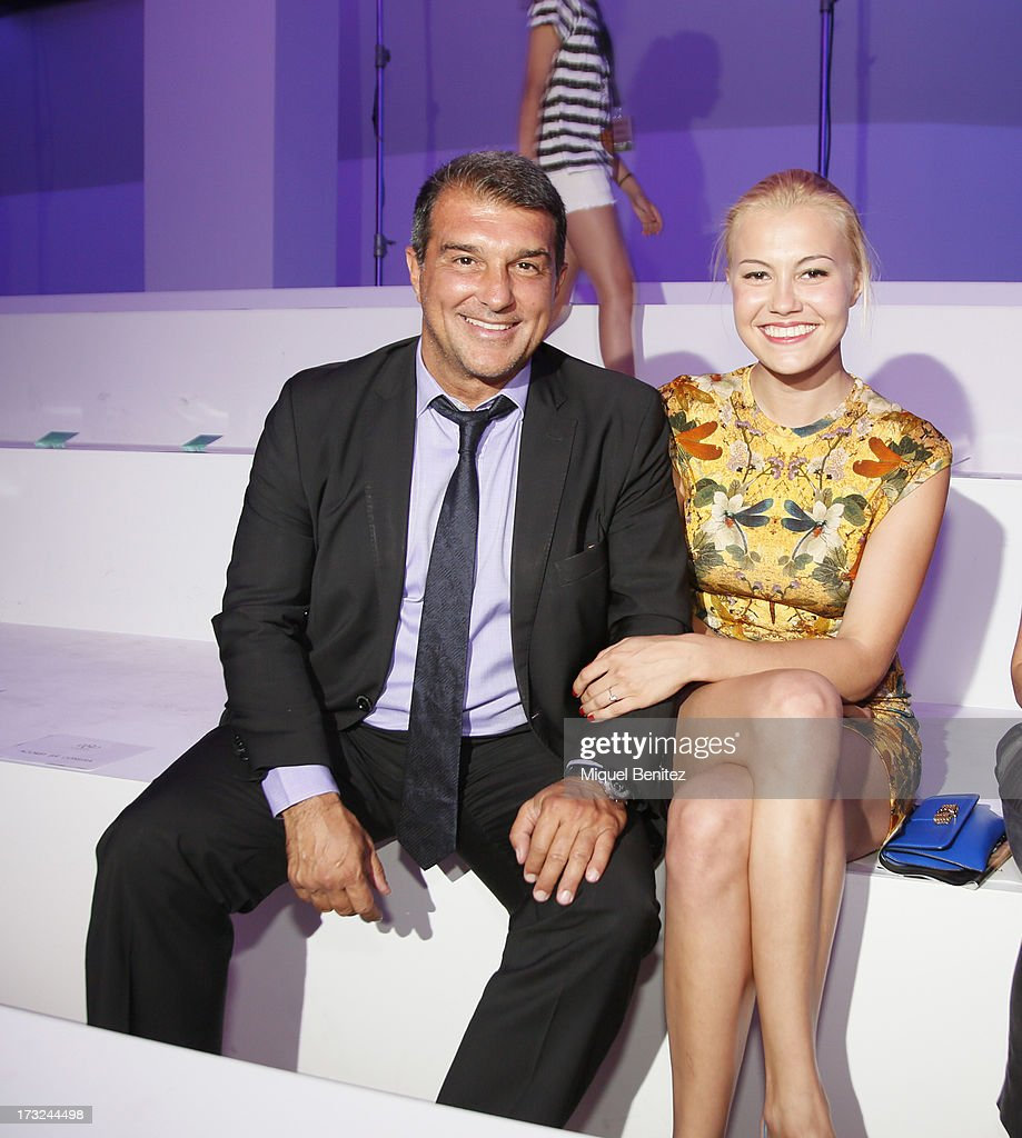 Jan Laporta and Maria Masha attend the Custo Dalmau's Spring-Summer 2014 Collection during 080 Barcelona Fashion Week on July 10, 2013 in Barcelona, Spain.