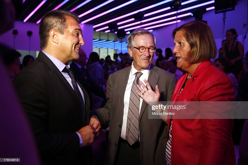 Jan Laporta, Xavier Trias - Barcelona's Major - and Nuria de Gispert - President of the Parliament of Catalonia - attend the Custo Dalmau's Spring-Summer 2014 Collection during 080 Barcelona Fashion Week on July 10, 2013 in Barcelona, Spain.