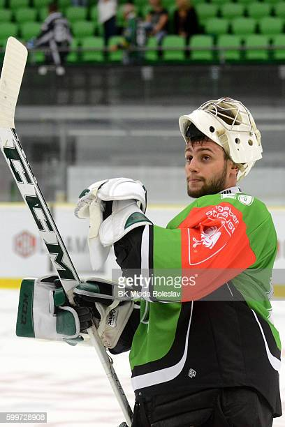 Jan Lukas after the Champions Hockey League match between BK Mlada Boleslav and Yunost Minsk at SKOEnergo Arena on September 6 2016 in Mlada Boleslav...