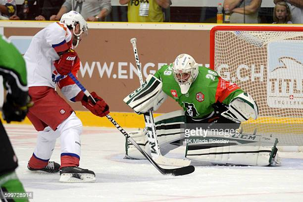 Jan Lukas and Daniel Korso during the Champions Hockey League match between BK Mlada Boleslav and Yunost Minsk at SKOEnergo Arena on September 6 2016...