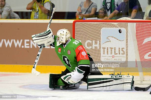 Jan Lukas during the Champions Hockey League match between BK Mlada Boleslav and Yunost Minsk at SKOEnergo Arena on September 6 2016 in Mlada...