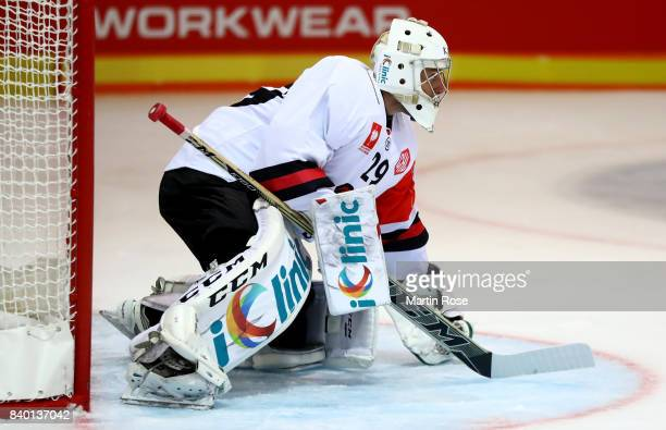Jan Lukas goaltender of Bystrica tends net against Banska Bystrica during the Champions Hockey League match between Grizzlys Wolfsburg and HC05...