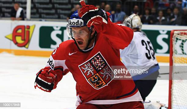 Jan Marek of Czech Republic celebrates after he scored his team's 2nd goal during the IIHF World Championship quarter final match between Finland and...
