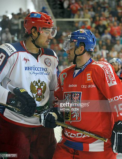 Jan Marek of the Czech Republic faces Evgeny Artyukhin of Russia during the Euro Ice Hockey tour match on April 23 2011 in Brno city Czech Republic...