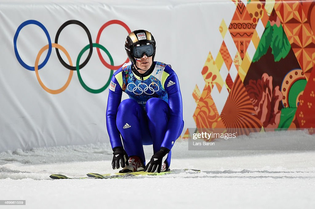 <a gi-track='captionPersonalityLinkClicked' href=/galleries/search?phrase=Jan+Matura&family=editorial&specificpeople=723613 ng-click='$event.stopPropagation()'>Jan Matura</a> of Czech Republic reacts during the Men's Team Ski Jumping final round on day 10 of the Sochi 2014 Winter Olympics at the RusSki Gorki Ski Jumping Center on February 17, 2014 in Sochi, Russia.