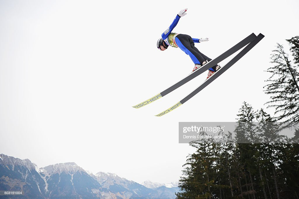 <a gi-track='captionPersonalityLinkClicked' href=/galleries/search?phrase=Jan+Matura&family=editorial&specificpeople=723613 ng-click='$event.stopPropagation()'>Jan Matura</a> of Czech Republic soars through the air during his training jump on day 1 of the 64th Four Hills Tournament ski jumping event on January 2, 2016 in Innsbruck, Austria.