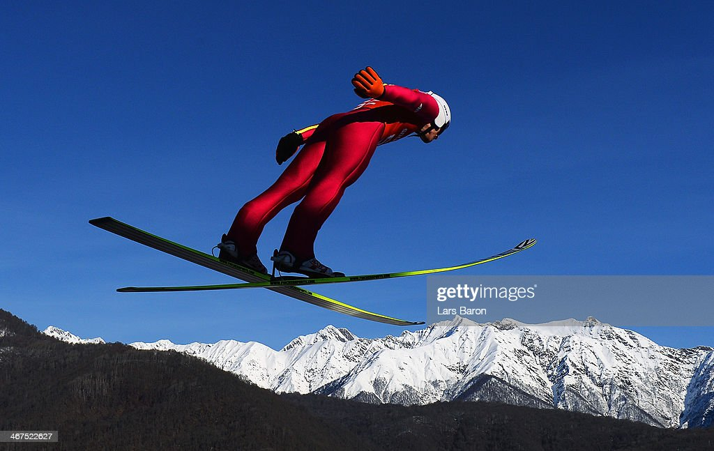 <a gi-track='captionPersonalityLinkClicked' href=/galleries/search?phrase=Jan+Matura&family=editorial&specificpeople=723613 ng-click='$event.stopPropagation()'>Jan Matura</a> of the Czech Republic jumps during the Men's Normal Hill Individual training ahead of the Sochi 2014 Winter Olympics at the RusSki Gorki Ski Jumping Center on February 7, 2014 in Sochi, Russia.