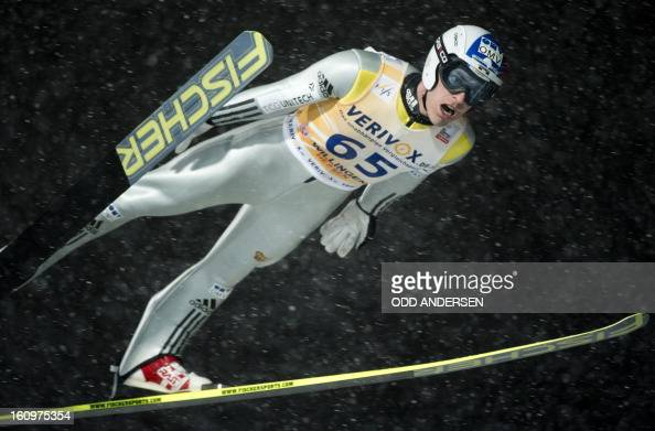 Jan Matura of the Czech Republic jumps during the qualifying run at the FIS Ski Jumping World Cup on the Muehlenkopfschanze hill in Willingen western...