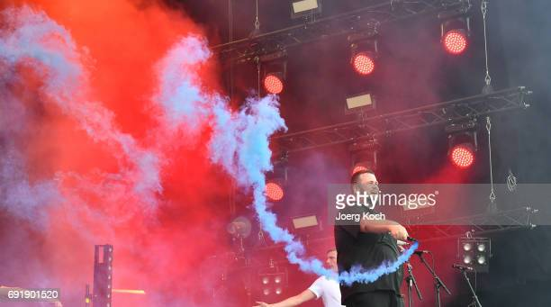 Jan 'Monchi ' Gorkow of Feine Sahne Fischfilet performs at 'Rock Im Park' music festival at Zeppelinfeld on June 3 2017 in Nuremberg Germany